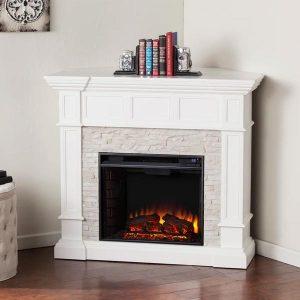 Contreras White Corner Electric Fireplace